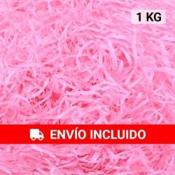 1 KG de papel kraft rosa en virutas, relleno para decoración y embalaje