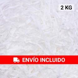 2 KG de papel kraft blanco en virutas, relleno para decoración y embalaje
