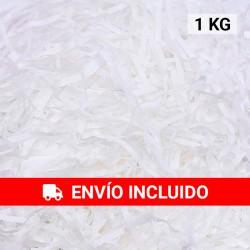 1 KG de papel kraft blanco en virutas, relleno para decoración y embalaje