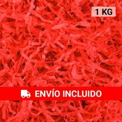 1 KG de papel kraft rojo en virutas, relleno para decoración y embalaje