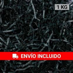 1 KG de papel kraft negro en virutas, relleno para decoración y embalaje