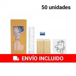 50 pack de 10 lápices, sacapuntas, reglas y bloc