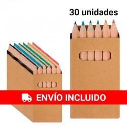 30 Pack de 6 mini lápices de colores para regalar en fiestas de cumpleaños