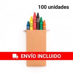100 Estuches de Cartón con Ceras Surtidas