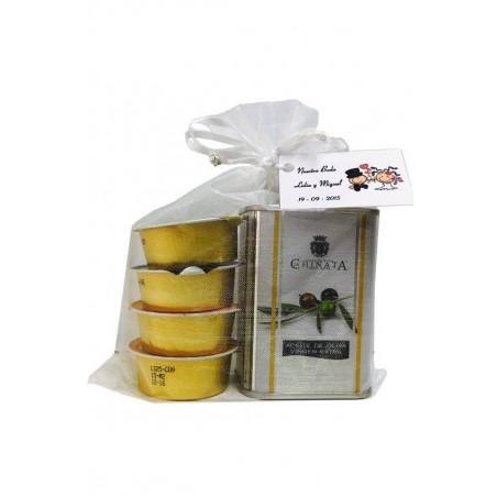 Boîte d'huile d'olive vierge extra avec iberitos