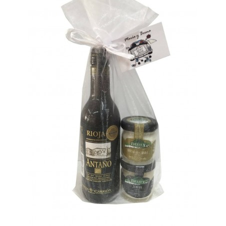wine and jar of cheese in miniature for gift of baptism