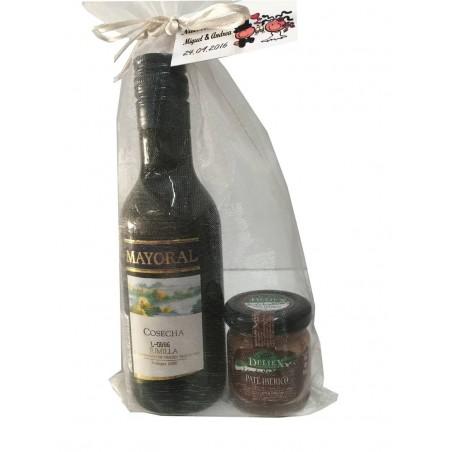 Lot de vin mayoral avec un pot de cadeau gourmet