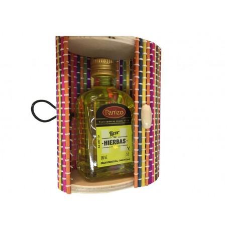 Licor de hierbas panizo con baúl mini para regalar