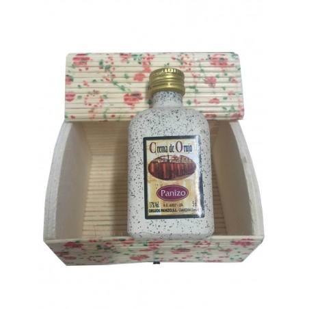 Liqueur de crème de orujo avec coffre miniature