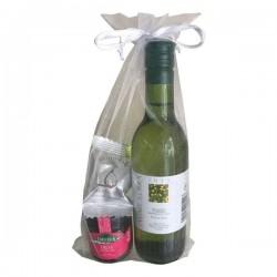 Lot pour cadeaux avec vin blanc, marmelade et figes bonbon