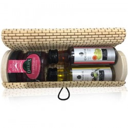 Long wicker trunk with miniature olive oil, vinegar and raspberry jam