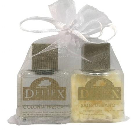 Set du bain, cologne frais et sels du bain marque Deliex.
