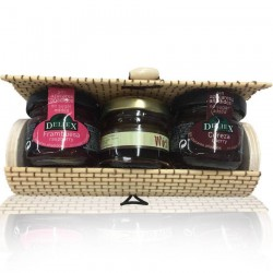 Beige trunk, raspberry jam, honey and cherry jam for gift