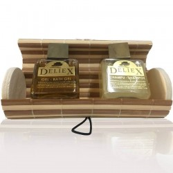 Beige and brown chest with gel and shampoo to give away