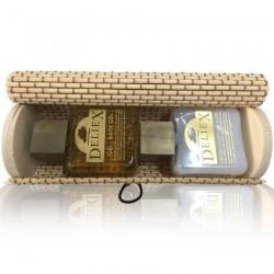 Baúl alargado beige con crema corporal y gel de baño para invitados