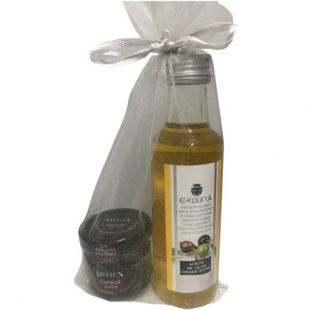 Pack olive oil 100 ml and jam of cherry for gift.