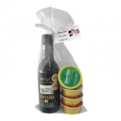 Pack boda vino Antaño Rioja con cuatro patés
