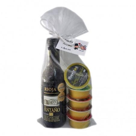 Pack boda vino Antaño Rioja con cinco patés