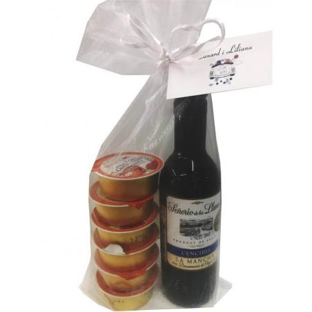 """Miniature wine """"Senorío de los Llanos"""" with six pâtés"""