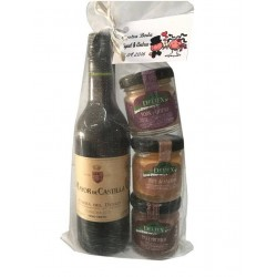 Lote para regalo vino mayor de Castilla con tres tarros de paté