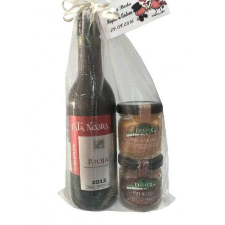 Dos tarritos de paté con vino Pata Negra para regalar