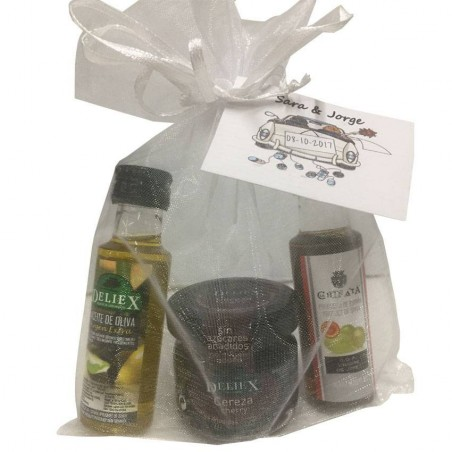Details with small jams, olive oil and vinegar for christening gifts