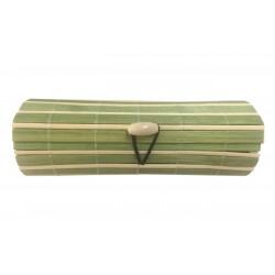 Baúl de madera mimbre beige-verde largo