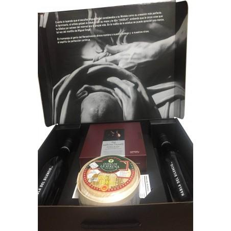 Etui à vin avec du fromage de La Serena et des pruneaux pour l'entreprise