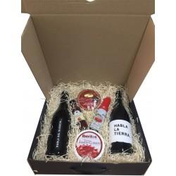 Estuche regalo grande con vinos habla, cremosito, vinagre, aceite y crema jamón para empresa