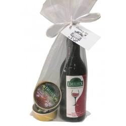 Botella de vino miniatura Deliex con dos monodosis de paté para regalar