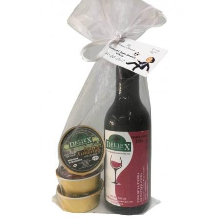 Miniatura vino Extremeño con tres monodosis de paté Deliex para eventos