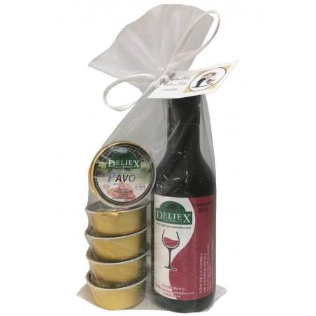Botella de vino miniatura Deliex con cinco monodosis de paté para comunión