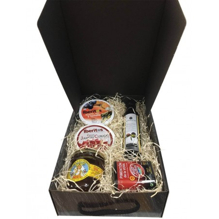 Estuche pequeño para regalos con aceite, jamón curado, miel, pimentón y botella aceite, ajo y tomate para navidad