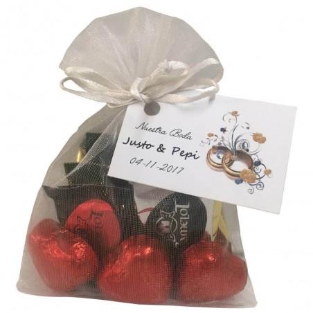 Pack bombones de corazón y napolitanas de chocolate variadas para detalles