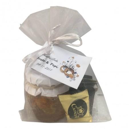 Pack tarro de miel con nueces y napolitanas surtidas para detalles