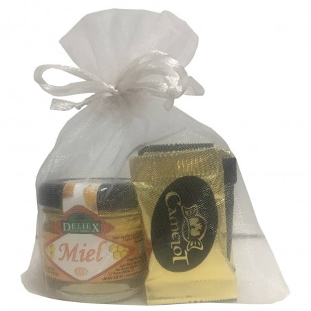 Miniature pack of honey and 5 assorted Neapolitan chocolate.