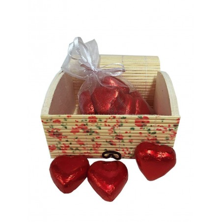 Chest with chocolate hearts