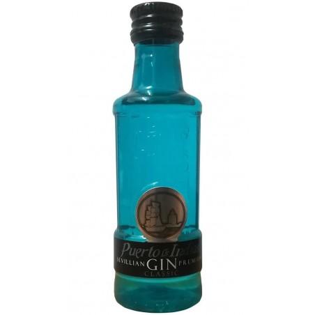 Miniature of gin Puerto de Indias Classic blue 5cl for events