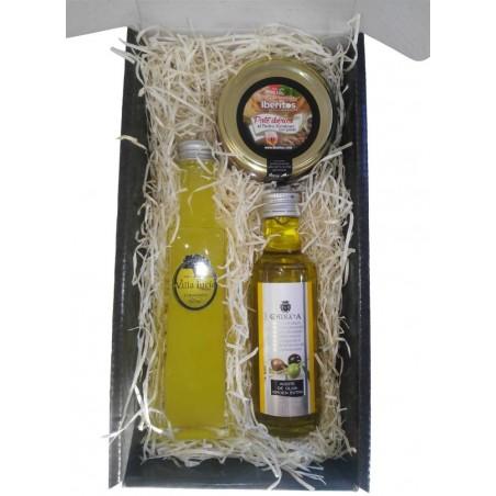 Estuche detalle gourmet Deliex con licor Villa lucia, AOVE y paté ibérico de iberitos