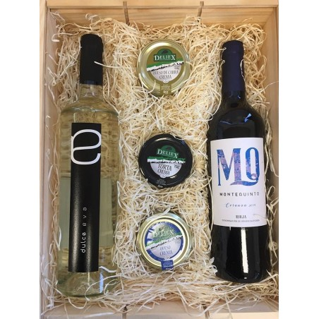Wooden box with wine and cream cheese for a gift