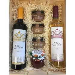 Lot gastronomie avec des vins de diadème, une sélection de pâtés gastronomiques et de confitures pour Noël