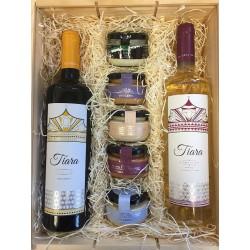 Cesta empresa Detalle con Vinos Tiara y combinación de Patés con Cremas de Queso