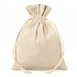 Natural beige linen bag 15x20 cm