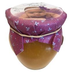 Jalea miel y naranja 120 g con papel personalizado para bautizo