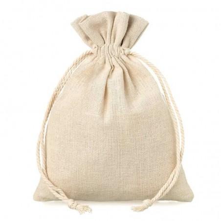 Bolsa de lino color natural de 10 x 13 cm