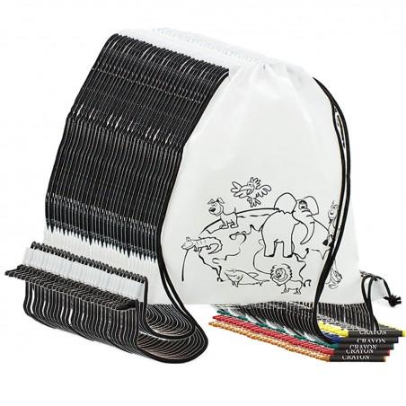 Pack de 25 mochilas con 5 ceras regalos niños en comuniones con bolsas para guardar los regalos