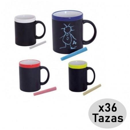 Pack 36 Tazas Pizarra de Cerámica con tiza y caja para regalo infantil