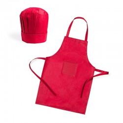 Mandil con Gorro de cocina para regalos y celebraciones (Rojo)