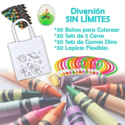 Pack of 30 children's gifts (Bags, waxes, eggs and pencils)