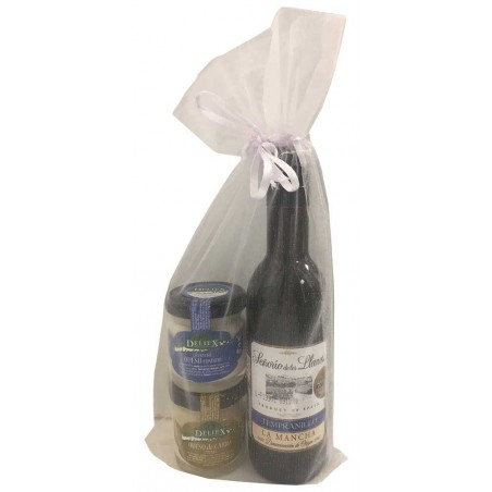 Gift for baptism wine with jar of cheese